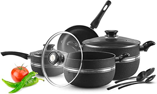 7 Pc Pots and Pans Sets - Non Stick Aluminium Casserole Induction Pan Set with Glass Lid, 1 Frying Pan, 1 Saucepan, 3 Cooking Utensils Ceramic Coating Cooking Pots Gift Box