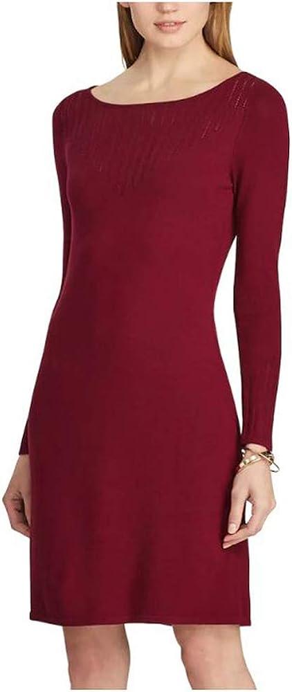 Chaps Women Pointelle Knit Sheath Sweater Dress, Cherry Red