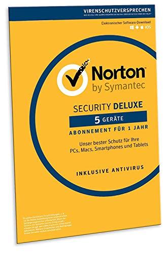 Norton Security Deluxe 2019 | 5 Geräte | 1 Jahr | PC/Mac/iOS/Android | Download, Aktivierungscode in Frustfreier Verpackung
