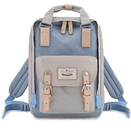 "Himawari School Functional Travel Waterproof Backpack Bag for Men & Women | 14.9""x11.1""x5.9"" | Holds 13-in Laptop (Beige & blue)"