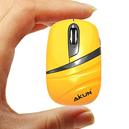 AIKUN Orange Ultra Mini 2.4G Wireless Mouse with USB Receiver and AAA Battery,only 40g Weight,About Two Fingels Big,Portable Computer Mice for PC, Tablet and Laptop(Aikun-MX24)