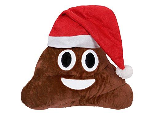 Emoji Kissen Weihnachtskissen Emoticon Weihnachten Couchkissen Deko von Alsino, Variante wählen:Ki-49 Kackhaufen Xmas