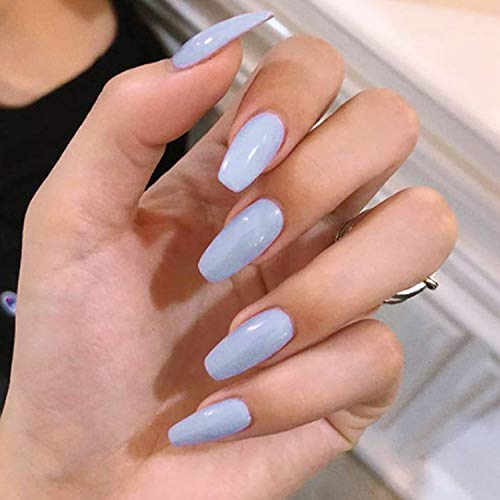 24 Pcs Fake Nails Lacquer Coffin Nails Lavender Full Cover Ballerina Nail Art Medium FALSE Gel Nails Tips Sets for Women Teens Girls (Lavender)