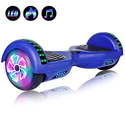 """Felimoda 6.5"""" inch Two Wheels Electric Smart Self Balancing Scooter Hoverboard with Wireless Speaker LED Light-UL 2272 Certified for Kids Gift and Adult,Blue"""