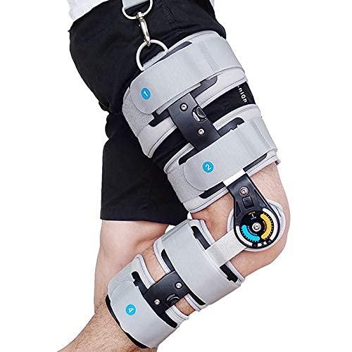 FACAZ Rodillera ROM con bisagras Ajustable - para ACL/MCL/PCL/menisco/ligamento/Lesiones Deportivas, ortesis de Rodilla ortopédica ROM con bisagras Ajustable para Hombres y Mujeres