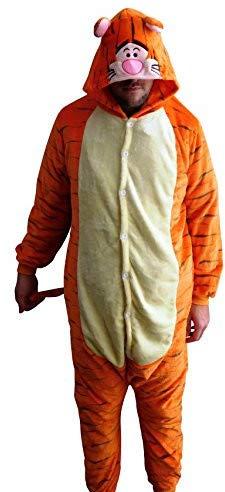 GW Handels UG Flannel Kostüm Tiger Damen Herren Kinder Karnevalskostüm Faschingskostüm Verkleidung Fleece Overall Erwachsene Größe XL