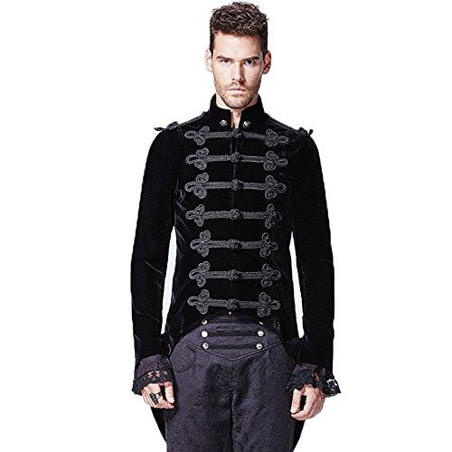 Punk Rave Herren Gothic Viktorianisch Military Mantel Steampunk Vintage Jacke Frock Uniform Halloween Cosplay Kostüm -  Schwarz -  Mittel