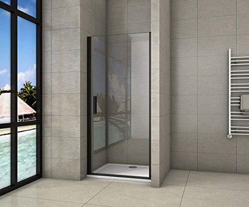 AICA porte de douche 80x200cm porte de douche pivotante noir en 8mm verre anticalcaire