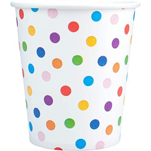100 Pappbecher Papierbecher Papptrinkbecher bedruckte Trinkbecher aus Pappe (100 x 180 ml Becher ) mit Motiv Pünktchen Konfetti