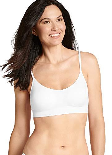 Jockey Women's T-Shirts Modern Micro Seamfree Cami Strap Bralette, White, M