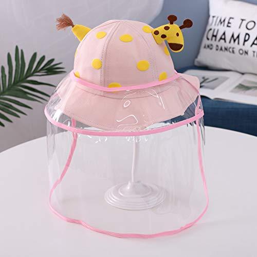 Inchant Sombrero de Cubo con Protector Facial para Niños Sombrero de Pescador Sombrero de Sol con Visera Protectora Extraíble Gorro de Pescador - Jirafa Rosa