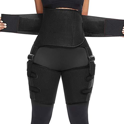Hoge Taille Dij Trimmer Body 3-In-1 Taille Trainer Gewichtsverlies Riem Workout Trimmer Tummy Running Trainers Sport Shaper Sauna,Black,2XL/3XL