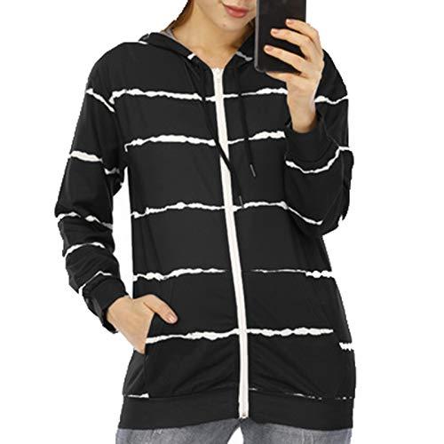 SLYZ 2020 Mujer Otoño/Invierno Nueva Personalidad Moda A Rayas Cárdigan Cremallera con Capucha Suéter Abrigo Mujer Top