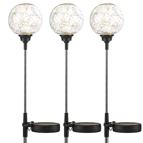 LED Solarlampe für Außen 3 Stück - Solarkugel 10 cm - Gartenstecker - Drahtgeflecht mit 30 warm-weißen LED's - austauschbarer Akku - Höhe 79 cm - Solarleuchte Gartenbeleuchtung Gartenlampe Beleuchtung