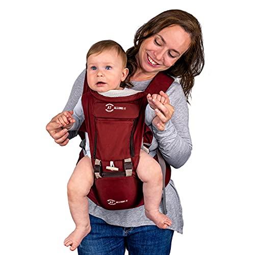 AT Allure-T Babybauchtrage, ergonomische Babytrage Rückentrage, Tragesystem für Säugling und Kleinkind, Baby Carrier mit Hüftsitz, 7 Tragepositionen (Farbe Rot)