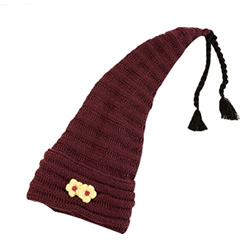 Chapeau en laine tricoté doux et extensible pour l'hiver Rouge foncé