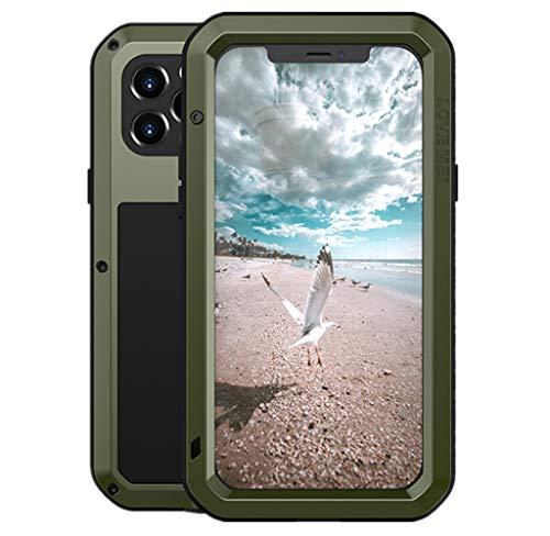 LOVE MEI para iPhone 12 Pro Funda, Heavy Duty Antigolpes Impermeable a Prueba de Polvo Cubierta Híbrido Metal Aluminio+Silicona Funda para iPhone 12 Pro 6.1'' con Vidrio Templado (Verde)