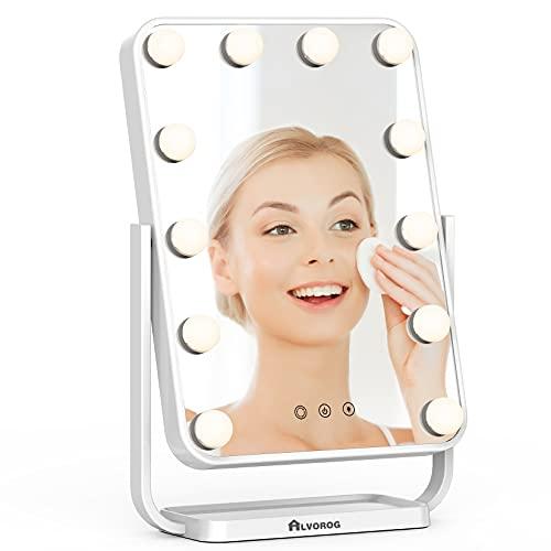 alvorog Espejo Maquillaje de Tocador con Luz LED,Espejo de Mesa con Aumento 1x/5x y 3 Modos de Luces,Holleywood Espejo con Luz Ajustable y Rotación de 360°, Espejo con Control Tactíl y Recargable USB