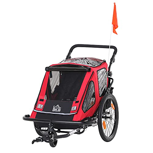 HOMCOM Kinderanhänger Fahrradanhänger mit Aufbewahrungstasche Kinderwagen mit Mesh-Tür Fahne klappbarer Kinderanhänger 2 in 1 Design Metall Oxford Rot+Schwarz 160 x 83 x 96 cm