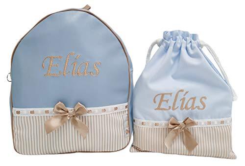 Kindergartenset oder Schuleset: Personalisierter Rucksack + Imbissbeutel mit dem Namen des Babys. Noa. Verfügbar in Mehreren Farben. (Hellblau/Kamel)