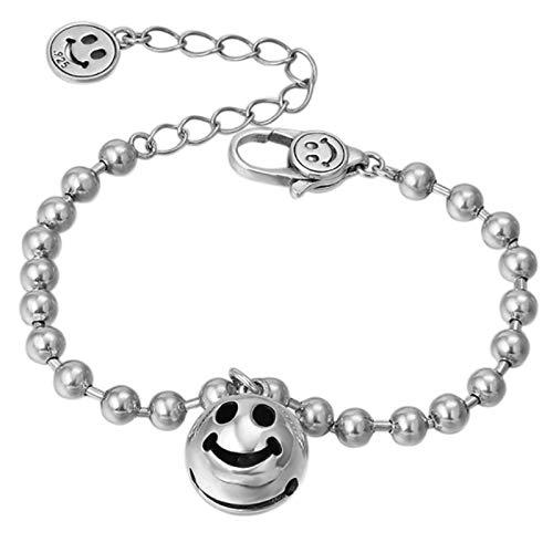 XIRENZHANG Pulsera de plata de ley S925 con cadena de moda, diseño de cara sonriente simple y campana de perlas redondas para hombres y mujeres (18 cm de longitud)