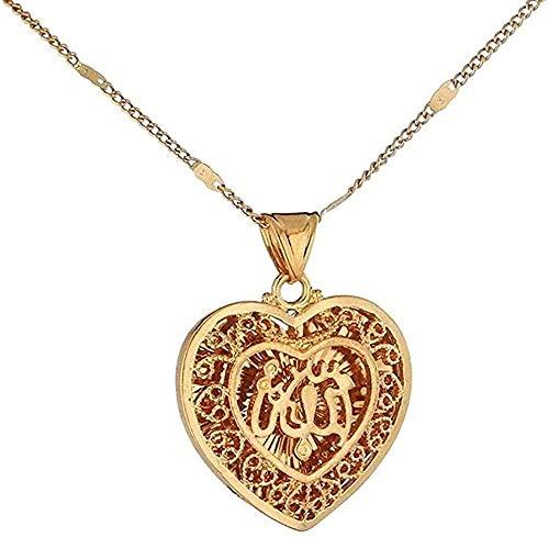 FACAIBA Collar de Color Dorado clásico árabe musulmán Hueco en Forma de corazón Alá Colgantes Collares para Regalo de joyería Femenina