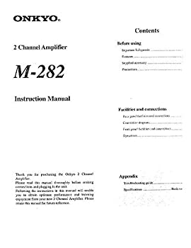 Onkyo M-282 Amplifier Owners Instruction Manual Reprint [Plastic Comb]
