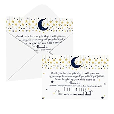 Twinkle Little Star Baby Shower Thank You Cards with Envelopes (25 Pack) Navy and Gold – Celestial Moon Theme - Thank You Note from Baby Boys - Flat Stationery Set (4 X 6 inches) Paper Clever Party by Paper Clever Party