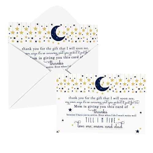 Twinkle Little Star Baby Shower Thank You Cards with Envelopes (25 Pack) Navy and Gold – Celestial Moon Theme - Thank You Note from Baby Boys - Flat Stationery Set (4 X 6 inches) Paper Clever Party