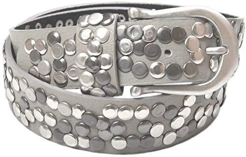 styleBREAKER Nietengürtel im Vintage Style, Gürtel kürzbar, Damen 03010008 (95cm, Grau)