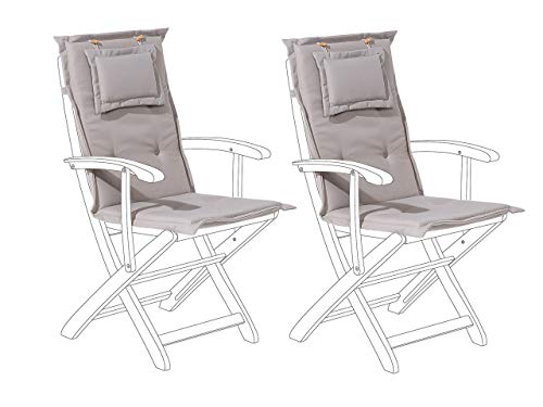 Beliani Set of 2 Outdoor Seat/Back Cushion Padded with Removable Headrest Pad Taupe MAUI
