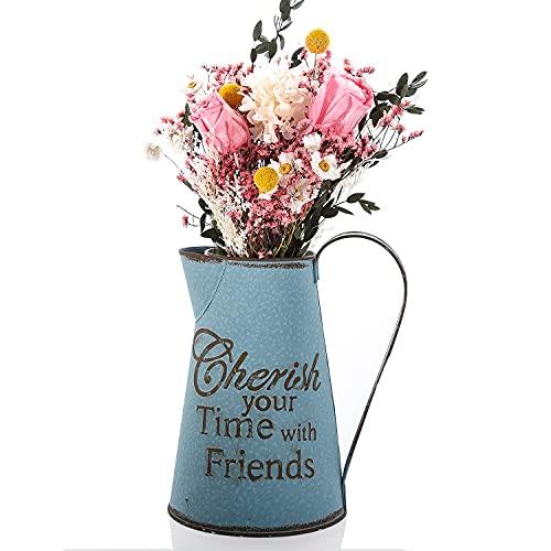 FORMIZON Jarra de Leche Vintage, Jarra de Jarra Francesa Vintage, Jarrón Rústico de Metal, Florero de Flores Decorativo Vintage Jarra Decorativa para Flores para Flores Secas Artificiales (Azul)