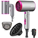 Hair Dryer 1800W, Ionic Hair Dryer for Women Blow Dryer with Diffuser Ionic Conditioning, Professional Multi-Function Quiet Hair Blower Dryer (Folding Handle as Compact Travel Hairdryer)