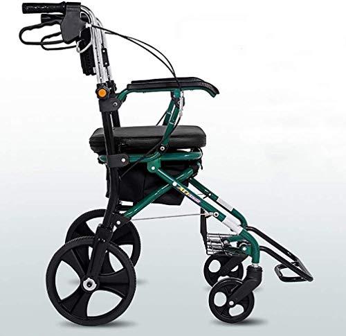 JN Walker voor ouderen Rechtopstaande Houding Rolling Walker PU Kushion, Junior Drive Medical 4 Wheel Walker Rollator, Compact Rolling Walker - Rollator Gebruikt voor Senioren Wandelen Gevoerde zitting en rug