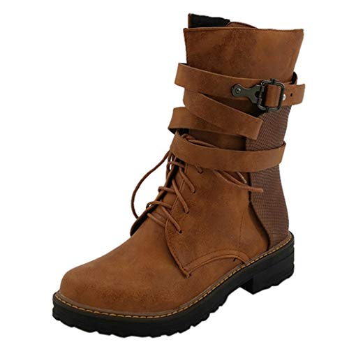 LONGDAY✿ Women's Mid Calf Combat Riding Boots Round Toe Military Lace up Knit Ankle Cuff Low Heel Combat Boots Brown
