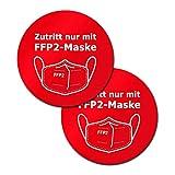 P035 2er Set - Hinweis-Aufkleber FFP2-Maskenpflicht, Abstand halten, Corona Aufkleber, Zutritt nur mit Maske, Selbstklebend (Rot, Variante 2 - 18 cm)
