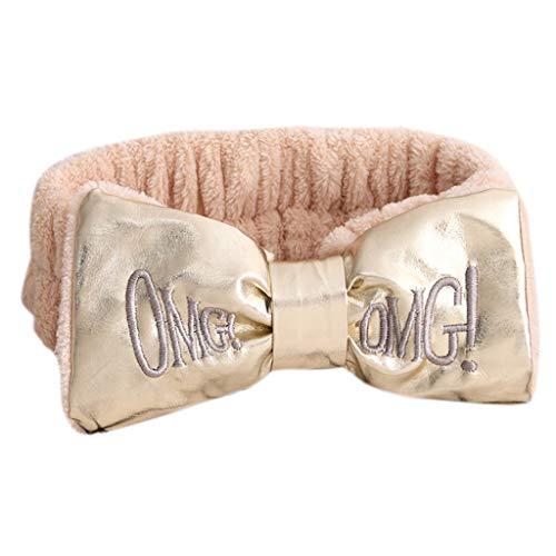 JINGDU - Diadema de felpa gruesa para invierno, letras OMG, bordadas, piel sintética, lazo, banda ancha para el pelo, para el cabello, maquillaje, fiesta, diademas para mujer