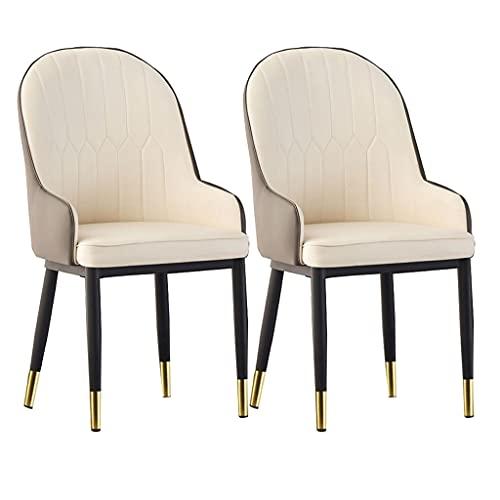 ADGEAAB Juego de 2 sillas de comedor de piel sintética mate tapizadas de mediados de siglo moderno sillas de metal para cocina, comedor, dormitorio, salón sillas laterales (color: B)