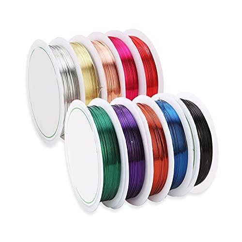 ETXP Alambre de Cobre con Cuentas, Accesorios de Cadena de Alambre de Color Colorido de Hilo de Alambre de Cobre Colorido para la fabricación de Joyas de Pulsera (Color : Mixed Color)