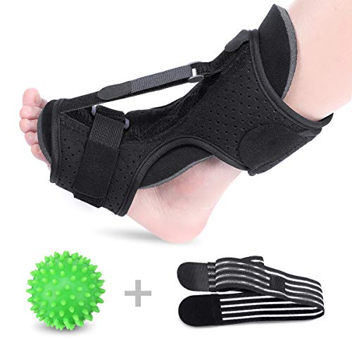 OUTERDO Plantar Fasciitis Night Splint Drop Foot Orthotic Brace,Improved Dorsal Night Splint for Effective Relief from Plantar Fasciitis,Achilles Tendonitis,Heel and Ankle Pain with Spiky Ball