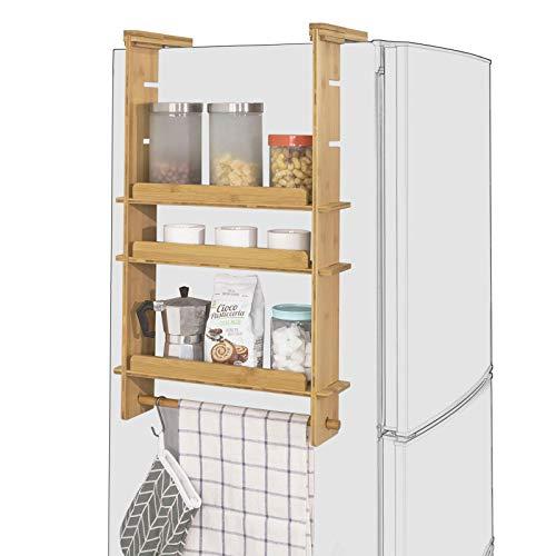 SoBuy KCR03-N Design Hängeregal für Kühlschrank Gewürzregal mit 3 verstellbaren Ablagen Küchenregal aus Bambus Natur BHT ca: 42x73x10cm