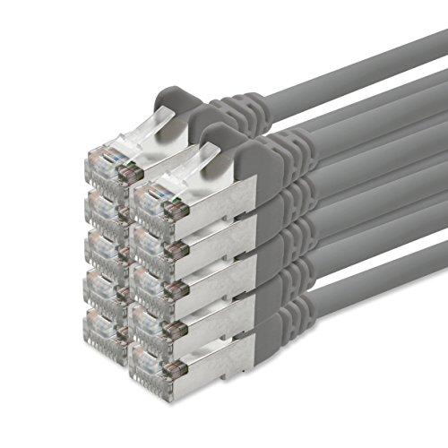 1aTTack, CAT5, SFTP, folie en gevlochten afgeschermd, netwerk-patchkabel met 2 x RJ45-stekkerset, 10 stuks 0,5m grijs