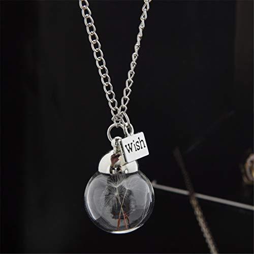 CHASIROMA Pusteblume Glas Anhänger Halskette Wunschkette Pusteblume Samen Halskette Floating Charms Anhänger Halskette Glas Anhänger Geschenk