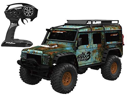 RC TECNIC Coche Teledirigido Electrico RC Rock Crawler Todoterreno Monster Truck Escalar Ideal para Niño y Adultos Resistente al Agua e Impactos con Ruedas Gigantes de Goma MAX Tiger