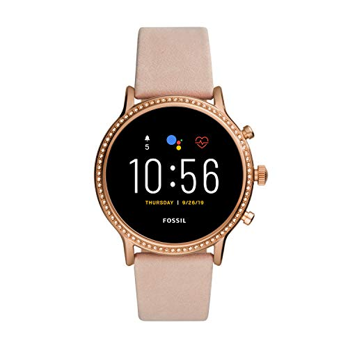 Fossil Unisex 44MM Gen 5 Julianna HR Heart Rate Stainless Steel and Leather Touchscreen Smart Watch, Color: Rose Gold/Blush (Model: FTW6054)