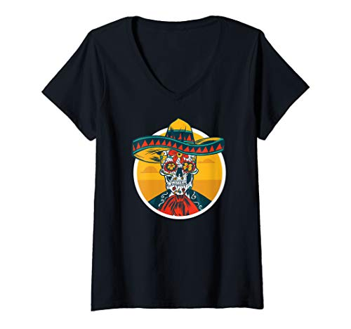 Womens Dia de Los Muertos Fun Day of the Dead Meme Skeleton Man V-Neck T-Shirt