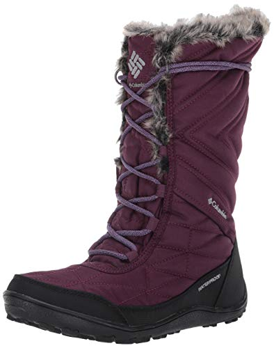 Columbia Women's Minx Mid III Snow Boot, Waterproof & Breathable, Black Cherry/Plum Purple, 5 Regular US
