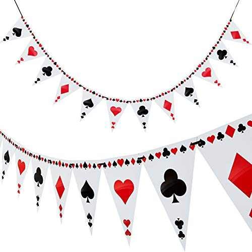 2 Stück Poker Thema Party Bunting Banner Poker Dreieck Banner für Poker Thema Party Dekorationen, 24 Flagge