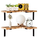 TERRA HOME Corner Wall Shelf Set of 2 - Modern Rustic Wall Shelves for Bedroom, Kitchen, Bathroom. Corner Floating Shelves with Durable L Shape Brackets, Thick Paulownia (Rustic Brown)