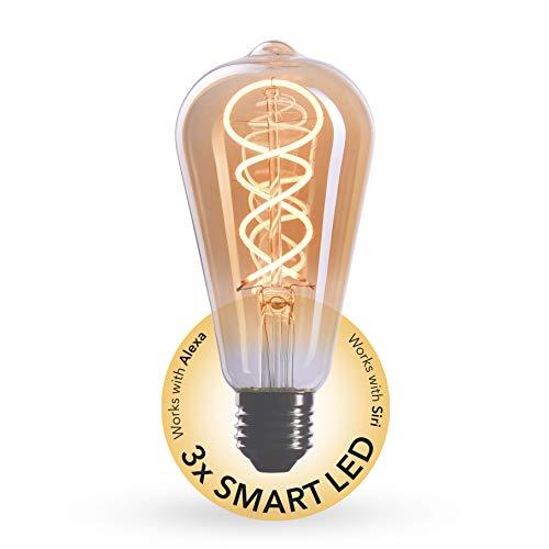 CROWN LED 3 x SMART Edison Glühbirne E27 Fassung, 4W, 2200K, Warmweiß, 230V, EL17, Antike Filament Beleuchtung im Retro Vintage Look - Steuerbar per SMART LIFE/TUYA App für das smarte Zuhause